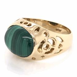 Closeup photo of 18K Yellow Gold Oval Malachite Custom Ring 6.8g, s5.75