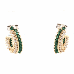 "Closeup photo of 14K Yellow Gold Half Hoops .85tcw Diamonds & .75tcw Emeralds 6.6g, 7/8"" Tall"