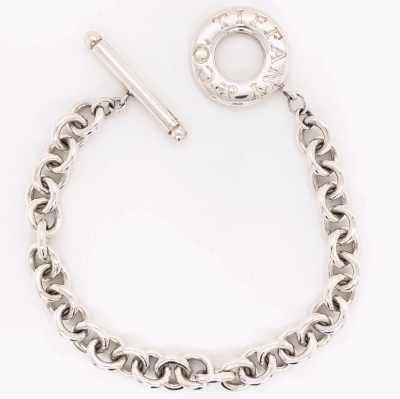 "Closeup photo of 925 Sterling TIFFANY & CO Link Bracelet with Toggle Clasp 26.0g, 7"" long"