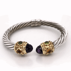 Closeup photo of 925 & 14K Yellow Gold Hinged Bangle with Amethyst, Citrine & Peridot