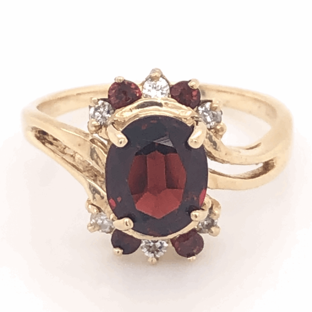14K Yellow Gold 1.10tcw Garnet & .13tcw Diamond Ring 3.6g, s6