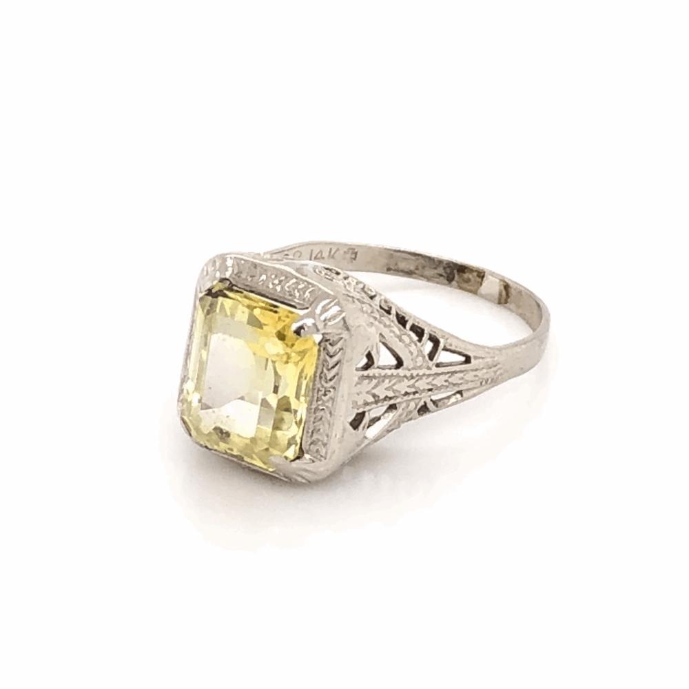 14K White Gold Art Deco Filigree Yellow Stone Ring 2.0g, s3.5