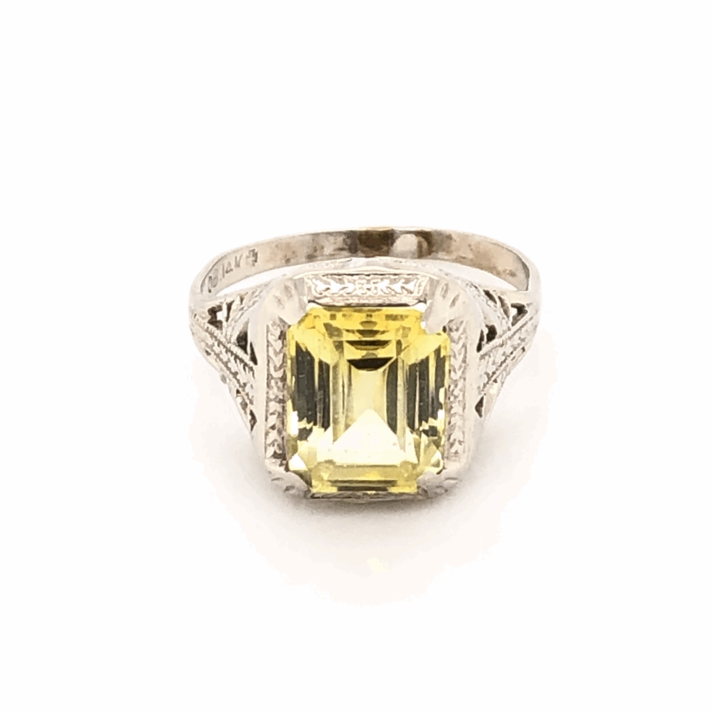 Image 2 for 14K White Gold Art Deco Filigree Yellow Stone Ring 2.0g, s3.5