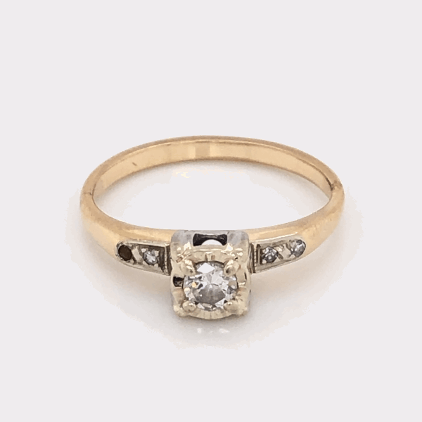 Closeup photo of Platinum on 14K Yellow Gold Solitaire Diamond Engagement Ring .34tcw, c1960's 2.7g, s6.75