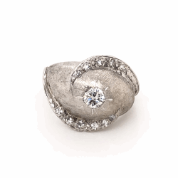 Closeup photo of 14K White Gold 1950's Diamond Dome Ring .45tcw 5.8g, s5.75