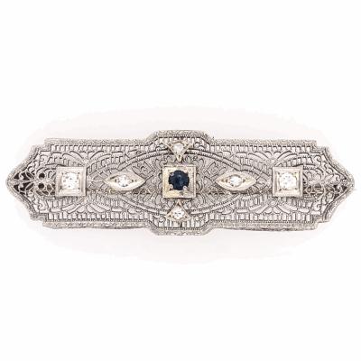 "Closeup photo of 14K White Gold Art Deco Brooch 6 Diamonds .25tcw, 4.0g, 2x5/8"""