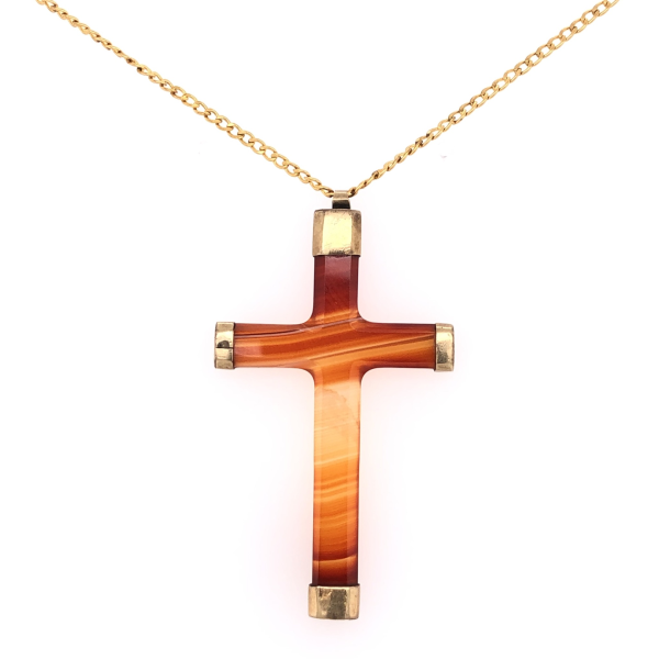 "Closeup photo of 9K Yellow Gold & Gold Filled Chain Victorian Natural Agate Cross Pendant 4.7g, 23"" Long Chain"