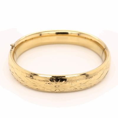 Closeup photo of Gold Filled Bangle 12.6mm Wide with Engraving 20.5g