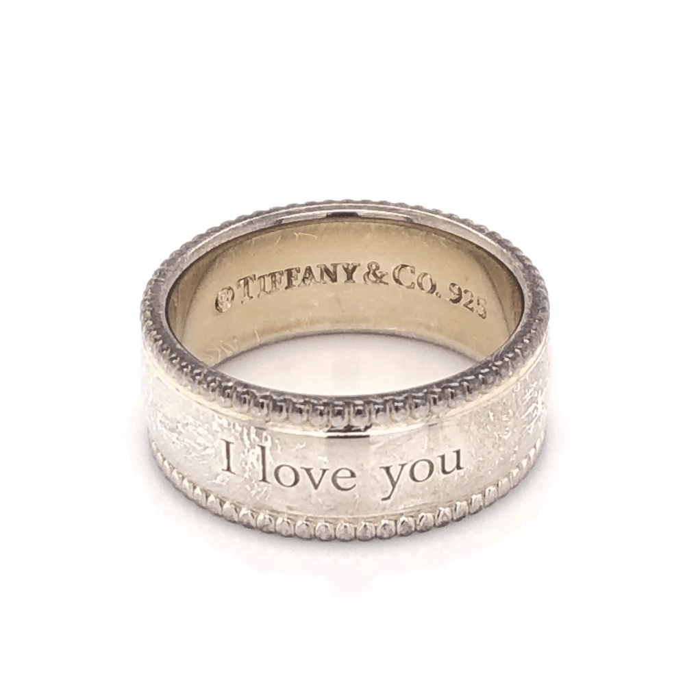 925 Sterling TIFFANY & CO Beaded Band Ring I LOVE YOU 7.4g, s7