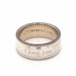 Closeup photo of 925 Sterling TIFFANY & CO Beaded Band Ring I LOVE YOU 7.4g, s7