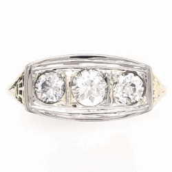 Closeup photo of Platinum on 14K Yellow Gold Edwardian 3 Stone Diamond Ring .69tcw 2.9g, s8