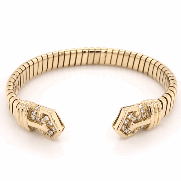 "Closeup photo of 18K Yellow Gold BVLGARI Diamond Open Cuff Bracelet .90tcw, 38.9g s6.5"" c1970's"