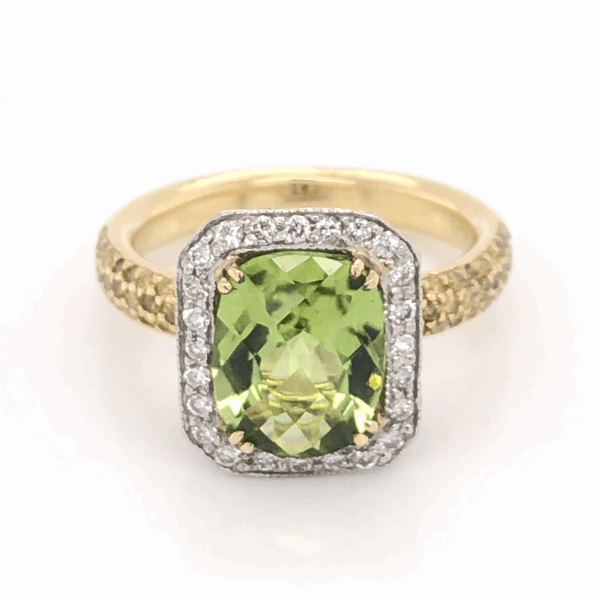 Closeup photo of Platinum & 18K Yellow Gold 2.75ct Oval Peridot, with White Diamonds .39tcw & Fancy Yellow Diamonds .44tcw Ring 9.0g, s6.25