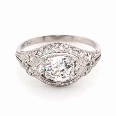 Closeup photo of Platinum Art Deco .70ct Old European Cut Diamond & .25tcw side diamond Ring 3.9g, s6.5