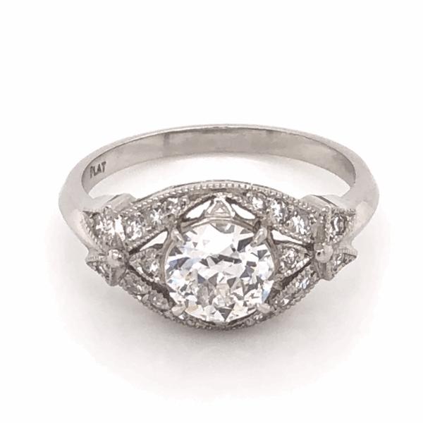 Closeup photo of Platinum Art Deco .88ct Old European Cut Diamond Ring with .20tcw side Diamonds & Milgrain 5.0g, s6.5