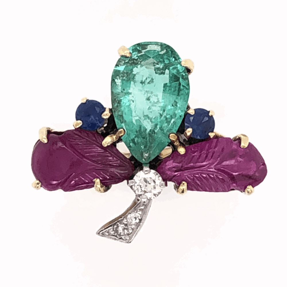 14K Yellow Gold 1960's Tutti Fruiti Ring 1.80ct Pear Shape Emerald, Carved Rubies, Sapphires & .10tcw Diamonds 6.0g, s5.75