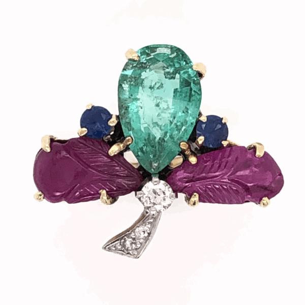 Closeup photo of 14K Yellow Gold 1960's Tutti Fruiti Ring 1.80ct Pear Shape Emerald, Carved Rubies, Sapphires & .10tcw Diamonds 6.0g, s5.75