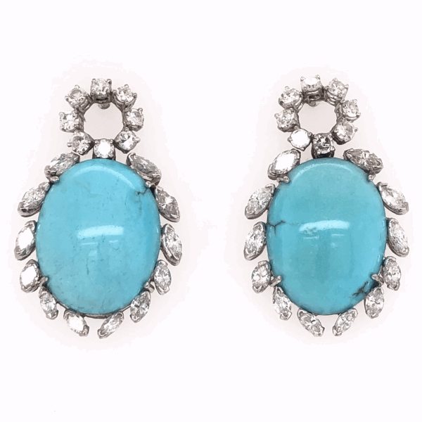 "Closeup photo of 18K White Gold 1950's Oval Cabochon Persian Turquoise & 2.36tcw Diamond Drop Earrings 1.25"" tall"