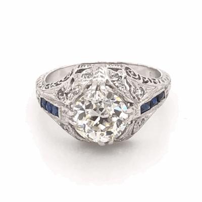 Closeup photo of Platinum Art Deco 1.71ct OEC Diamond & .12tcw Side Diamonds with Blue Stones Ring, Engraving & Milgrain 5.0g, s6