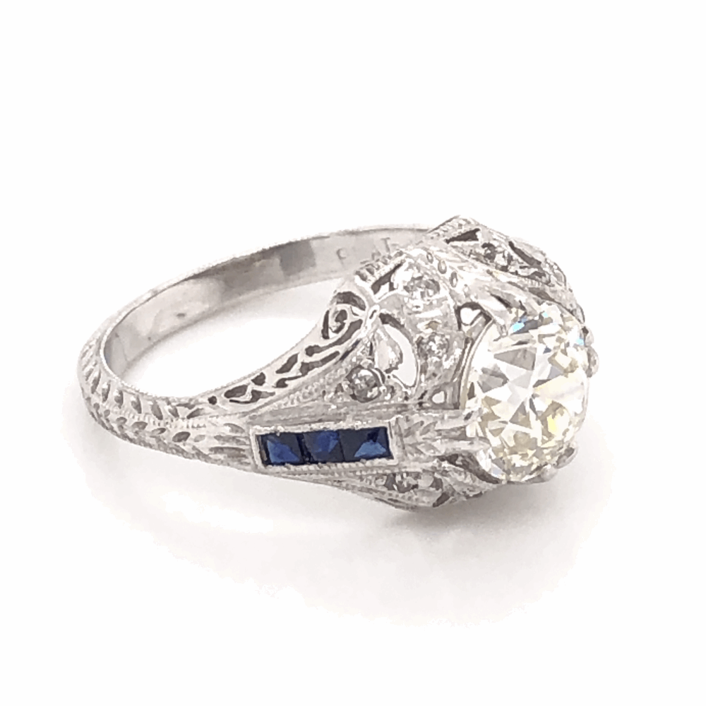 Image 2 for Platinum Art Deco 1.71ct OEC Diamond & .12tcw Side Diamonds with Blue Stones Ring, Engraving & Milgrain 5.0g, s6