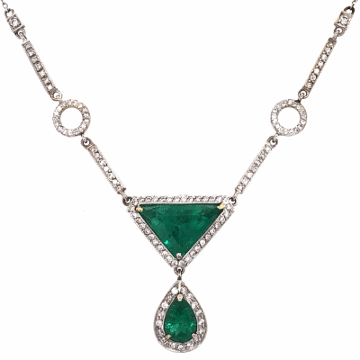"Closeup photo of 18K White Gold 2.75ct Trillion Emerald with .65ct Pear Shape Emerald and .85tcw Diamond Necklace Pendant 7.0g on 14K 16"" Long Chain"