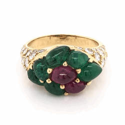 Closeup photo of 18K Yellow Gold FRENCH Cluster Ring, 2.20tcw Cabochon Emeralds, .70tcw Cabochon Rubies & 1.70tcw Diamonds 6.8g, s6.5