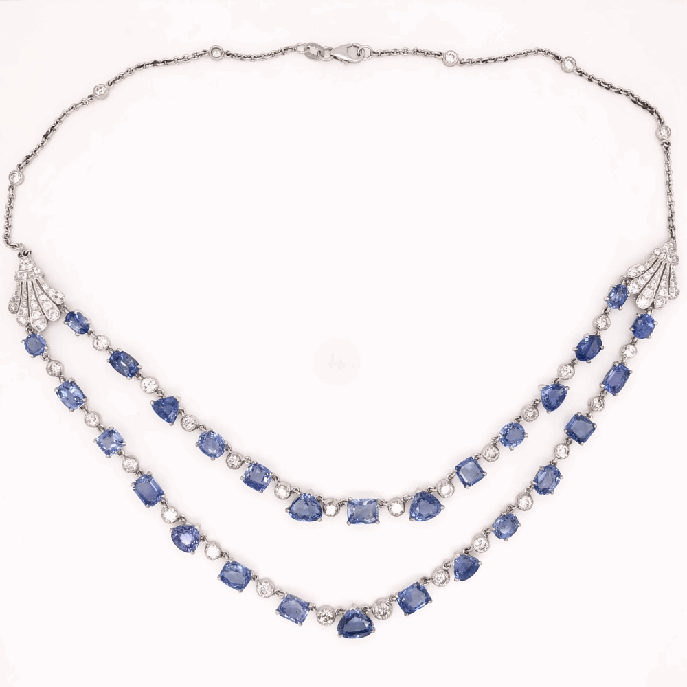 """Image 2 for 18K White Gold Art Deco Double Strand Necklace 35.70tcw Sapphires & 5.25tcw Diamonds 32.7g, 16"""" Long"""