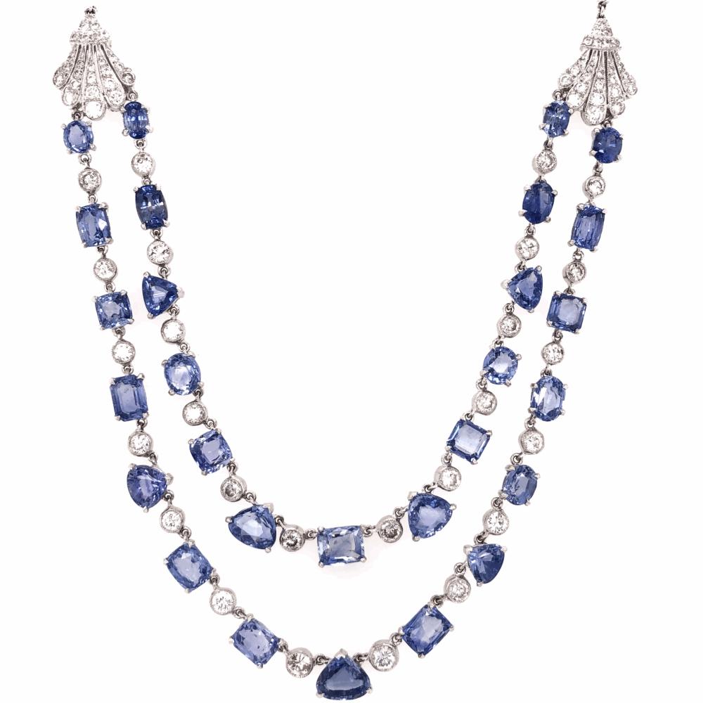 "18K White Gold Art Deco Double Strand Necklace 35.70tcw Sapphires & 5.25tcw Diamonds 32.7g, 16"" Long"