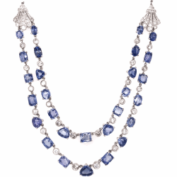 "18K White Gold Art Deco Double Strand Necklace 35.70tcw Sapphires & 5.25tcw Diamonds 32.7g, 16"" Long"