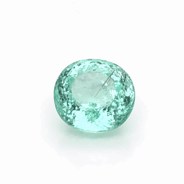 Closeup photo of 9.71ct Modified Brilliant Cut Oval Paraiba Tourmaline GIA 2173184600