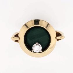 Closeup photo of 14K Yellow Gold Trophy Ring .15ct RBC Diamond Articulates around Malachite 7.4g, s5.5, c1976