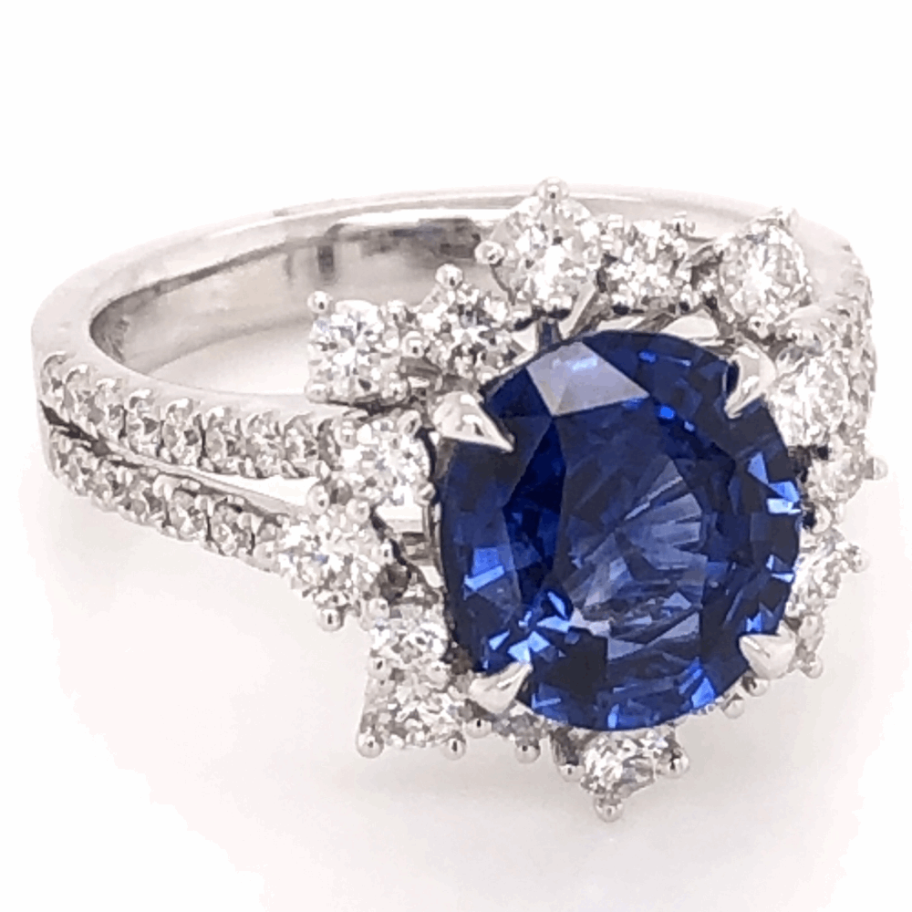 Image 2 for Oval Cut Sapphire & Diamond Ring