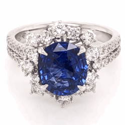 Closeup photo of Oval Cut Sapphire & Diamond Ring