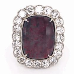 Closeup photo of Platinum Art Deco 7.39ct Australian Lightning Ridge Black Opal & 2.40tcw Diamond Ring 7.6g, s6.75
