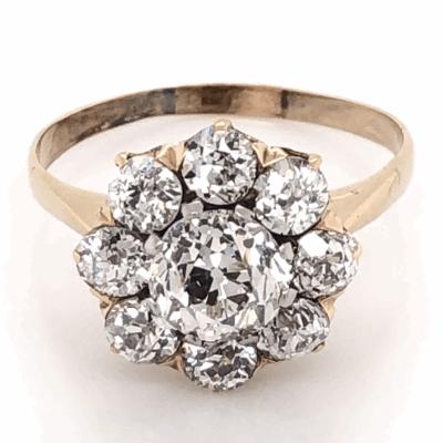 Closeup photo of 18K Yellow Gold Victorian 1.08ct OEC Diamond and 1.35tcw OEC Halo Diamond Ring 3.3g, s7.5