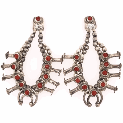 """Closeup photo of 925 Sterling Native Squash Blossom with Coral Earrings 10.7g, 1.75"""" tall"""