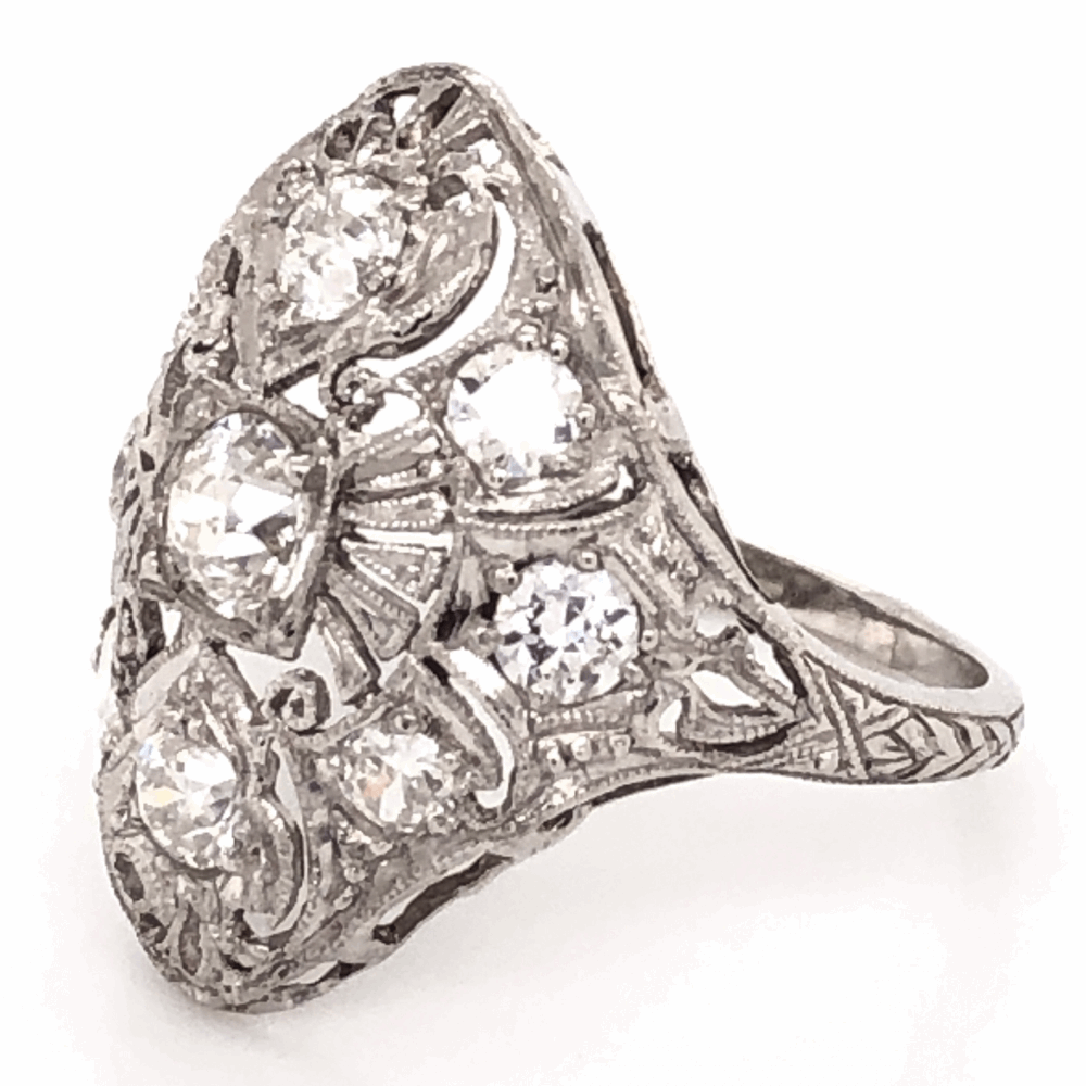 Image 2 for Platinum Art Deco .40ct Old European Cut & 1.10tcw Side Diamond Navette Shape Ring 5.1g, s7.25