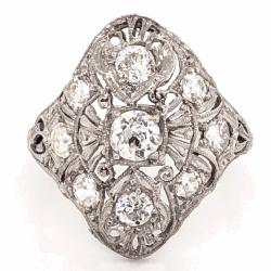 Closeup photo of Platinum Art Deco .40ct Old European Cut & 1.10tcw Side Diamond Navette Shape Ring 5.1g, s7.25
