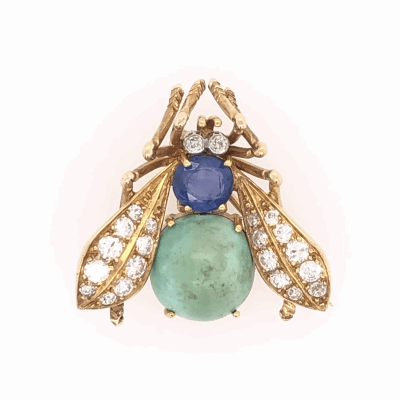 """Closeup photo of 18K Yellow Gold VAN CLEEF & ARPELS Bug Brooch with .65tcw Diamond, Turquoise & Sapphire 5.9g, 1"""" Tall"""