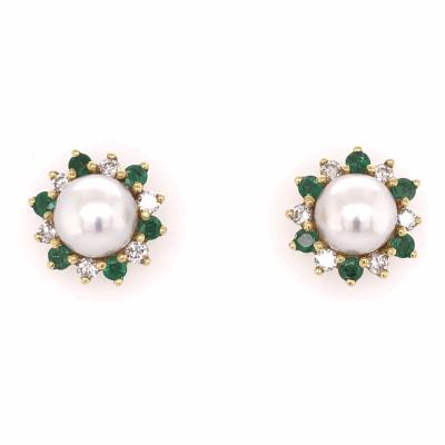 Closeup photo of 18K Yellow Gold HONORA Pearl Earrings with .54tcw Diamonds & .50tcw Emeralds 7.9g