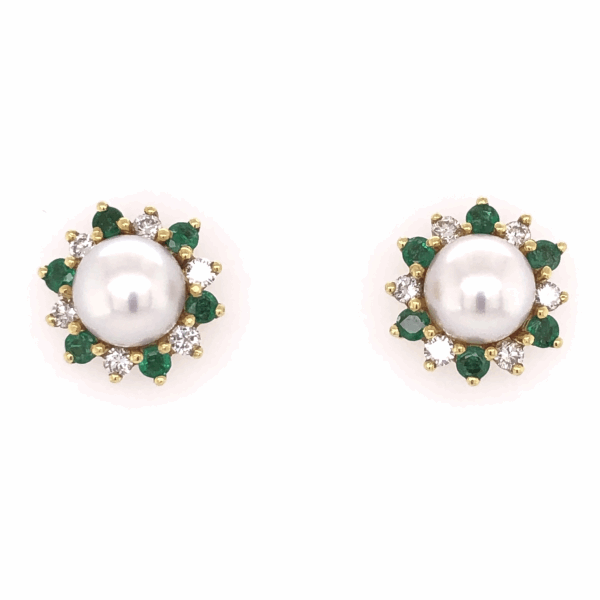 Closeup photo of 18K Yellow Gold HONORA Pearl Earrings with .54tcw Diamonds & .50tcw Emeralds 7.9g