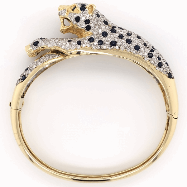 Closeup photo of 18K Yellow Gold Panther Diamond & Sapphire Bangle Bracelet 6.50tcw 38.4g, 26.5