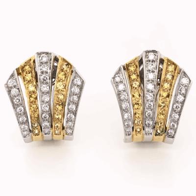 "Closeup photo of 18K White & Yellow Gold 5 Row Fan Striped Earrings 1.31tcw White & Yellow RBC Diamonds 10.8g, 7/8"" Tall"