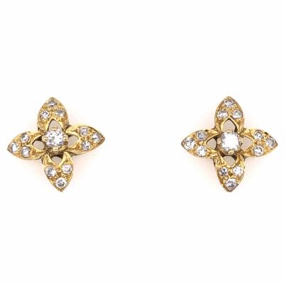 "Closeup photo of 18K Yellow Gold Diamond Flower Stud Earrings .50tcw, 3.9g, 1/2"" Diameter"