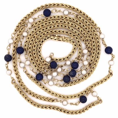 "Closeup photo of 18K Yellow Gold TIFFANY & CO 1970's 48"" Long Chain Pearls & Lapis"