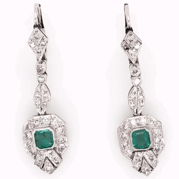 "Closeup photo of Platinum Art Deco .50tcw Emerald & ,55tcw Diamond Drop Earrings 5.9g, 1.5"" Tall"