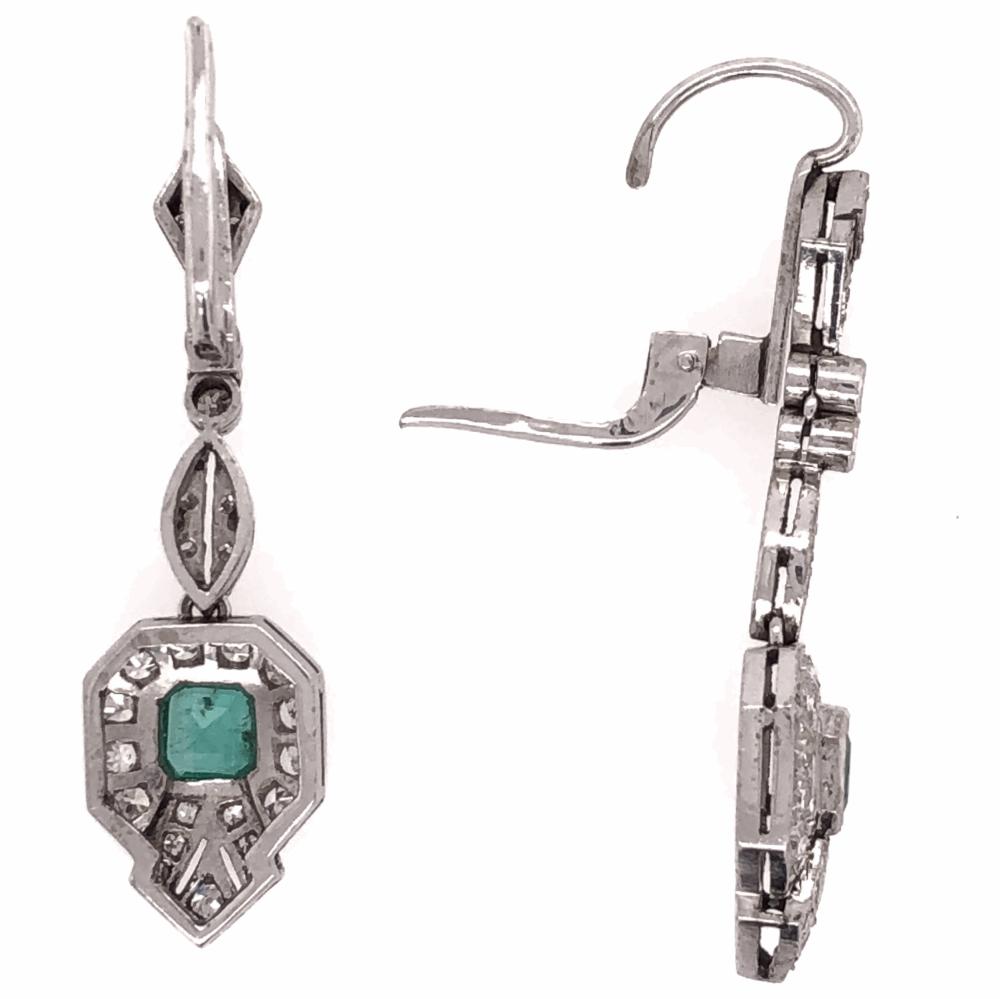 "Image 2 for Platinum Art Deco .50tcw Emerald & ,55tcw Diamond Drop Earrings 5.9g, 1.5"" Tall"