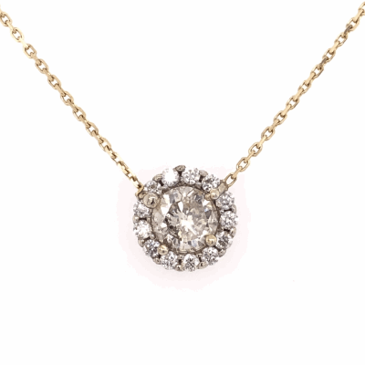 Closeup photo of 14K Yellow Gold 1.08ct Round Diamond in Halo Diamond .12tcw Necklace 18""