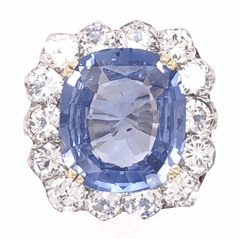 Platinum Art Deco 6.97ct GIA Antique Cushion Blue Sapphire & 1.50tcw Diamond Ring 7.3g, s5.5