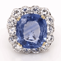 Closeup photo of Platinum Art Deco 6.97ct GIA Antique Cushion Blue Sapphire & 1.50tcw Diamond Ring 7.3g, s5.5